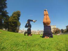 Yoga com as Painted Ladies ao fundo